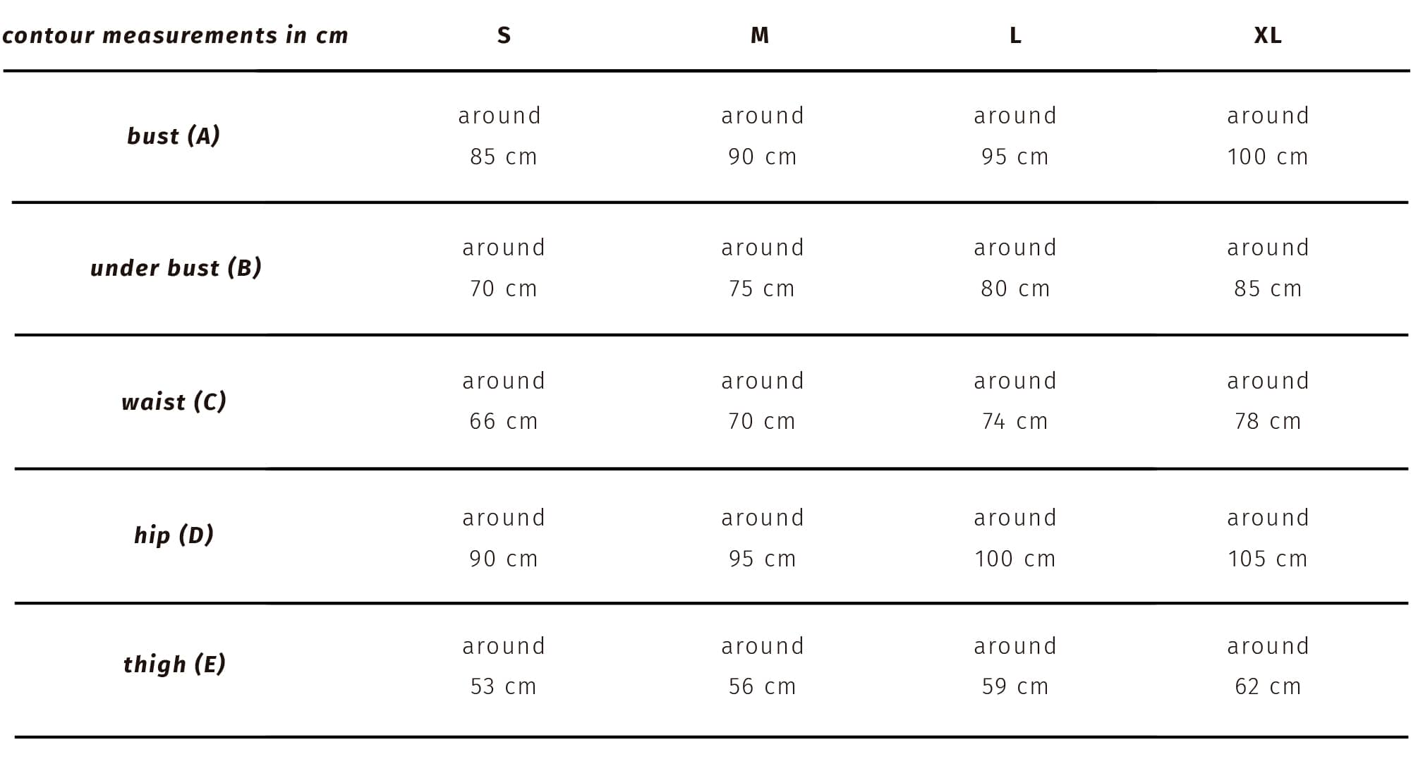 SIZE_GUIDE_TALKUNDERLIGHT English